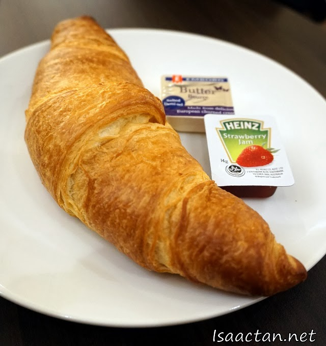 My breakfast, Pacific Coffee's Croissant with butter and strawberry jam