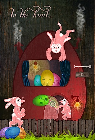 Limited edition Easter postcard art by Bindelgrim 2012 with bunny rabbits and Easter eggs