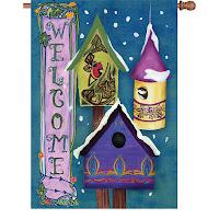 Winter Birdhouse House Flag