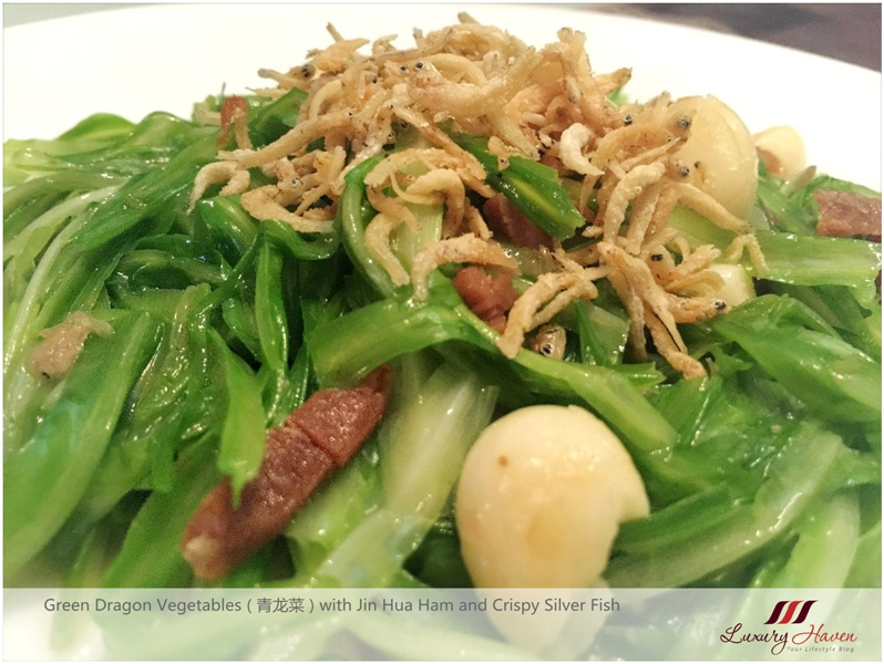 green dragon vegetables jin hua ham silver fish
