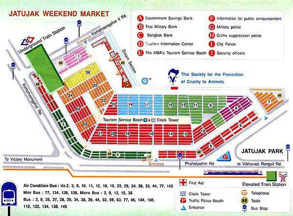 Bản đồ cách đi chợ Chatuchak