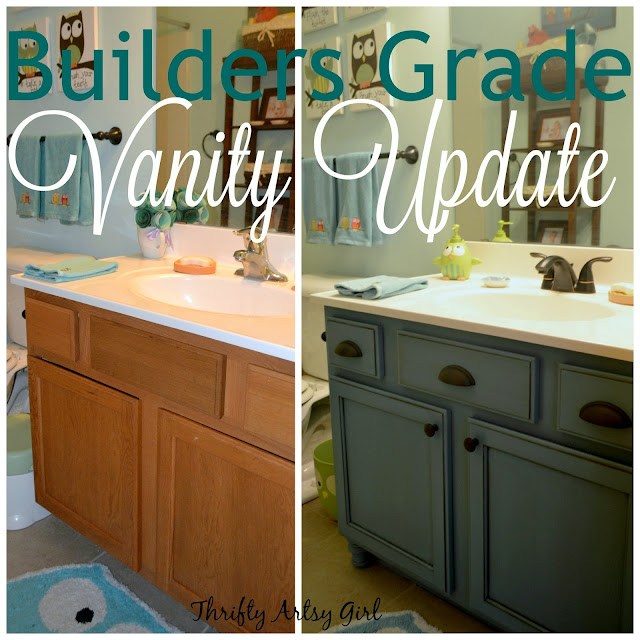 Thrifty artsy girl builders grade teal bathroom vanity for Bathroom builders