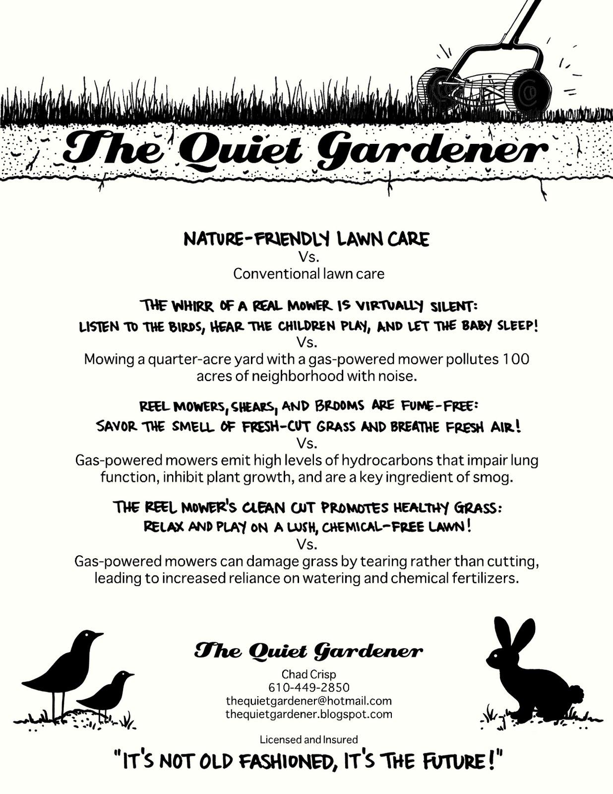 the quiet gardener click on flyer nature friendly lawn care vs click on flyer nature friendly lawn care vs conventional lawn care