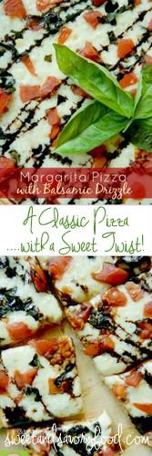 margarita pizza with balsamic drizzle (sweetandsavoryfood.com)