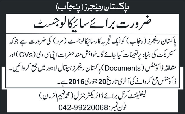 Psychologist Jobs in Rangers Lahore Punjab