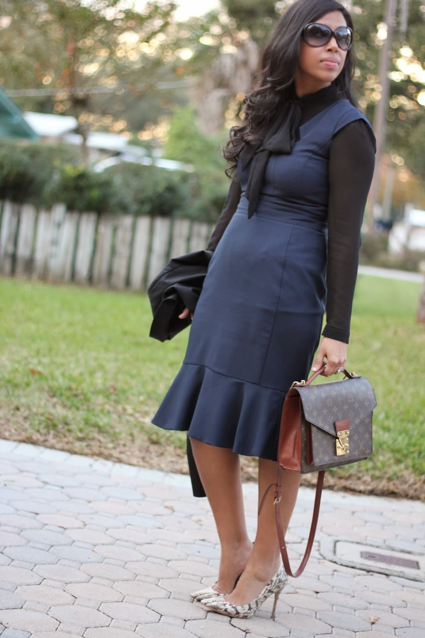 navy pencil dress office attire louis vuitton tory burch fendi