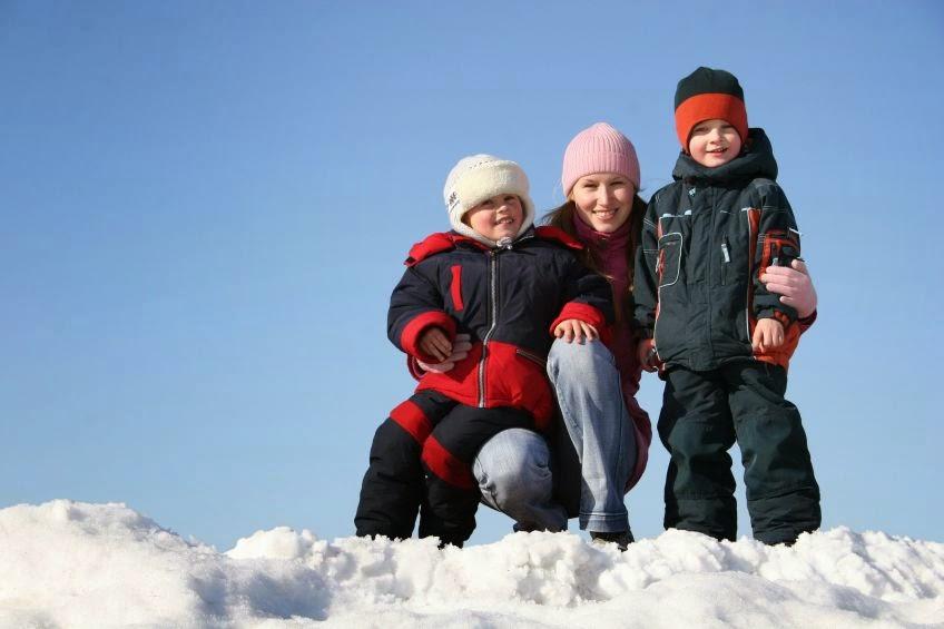 rodzina w Kołobrzegu zimą