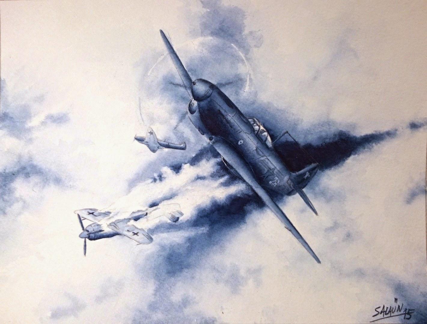 Aquarelle Preziosi - Yak-1b du GC-3 Normandie.