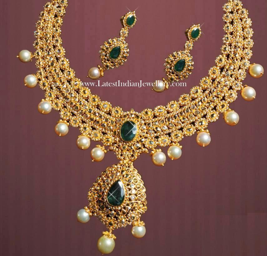 South Sea Pearl Drops Uncut Diamond Jewellery