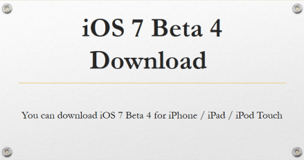Apple iOS 7 Beta 4 IPSW
