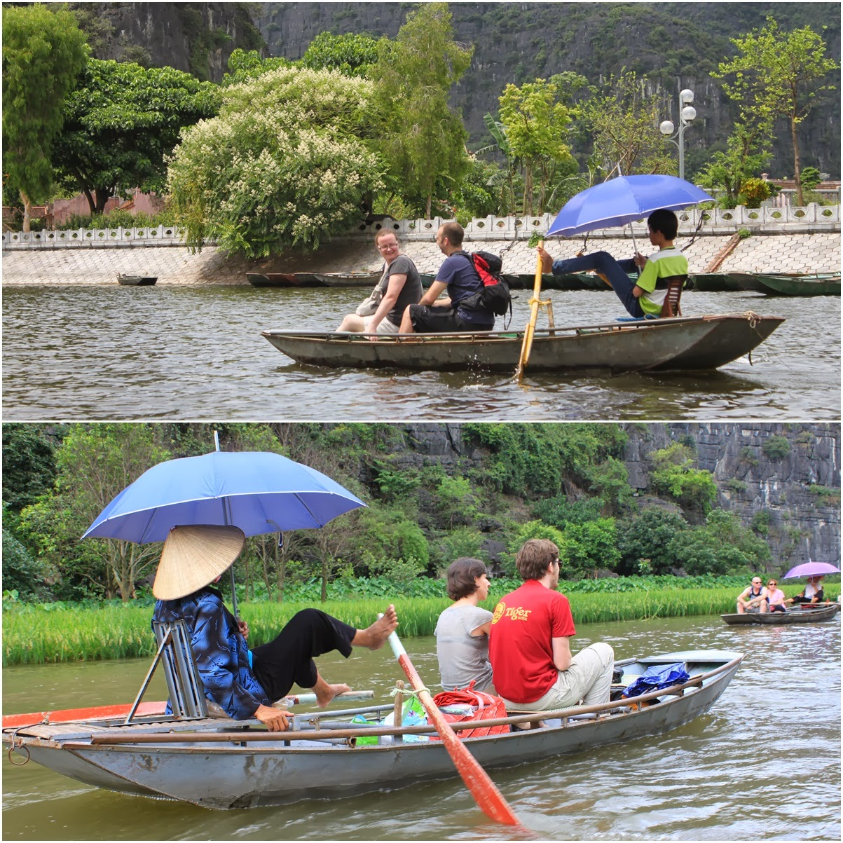 Some Vietnamese row the boats with their feet while others row with hands at Tam Coc Wharf near the city of Ninh Bình in northern Vietnam