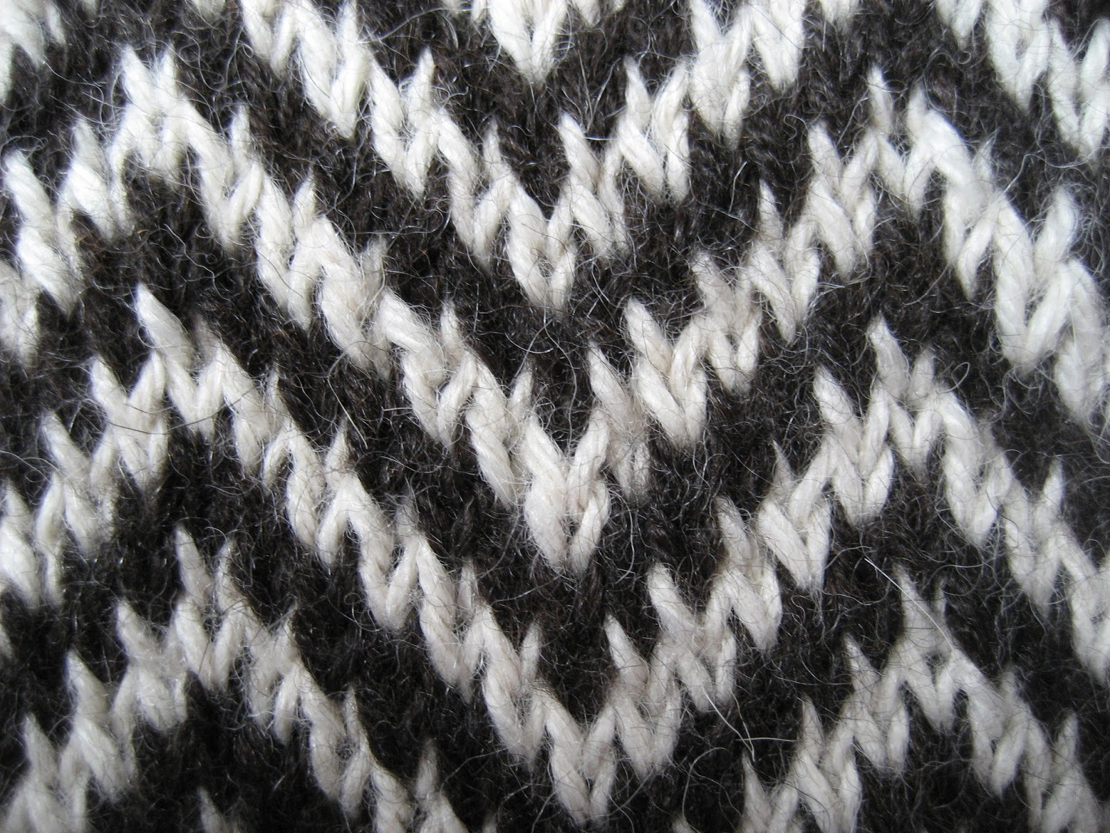 Two Colour Scarf Knitting Pattern : Carolyn Knits: Two-Handed Stranded Colorwork Tutorial