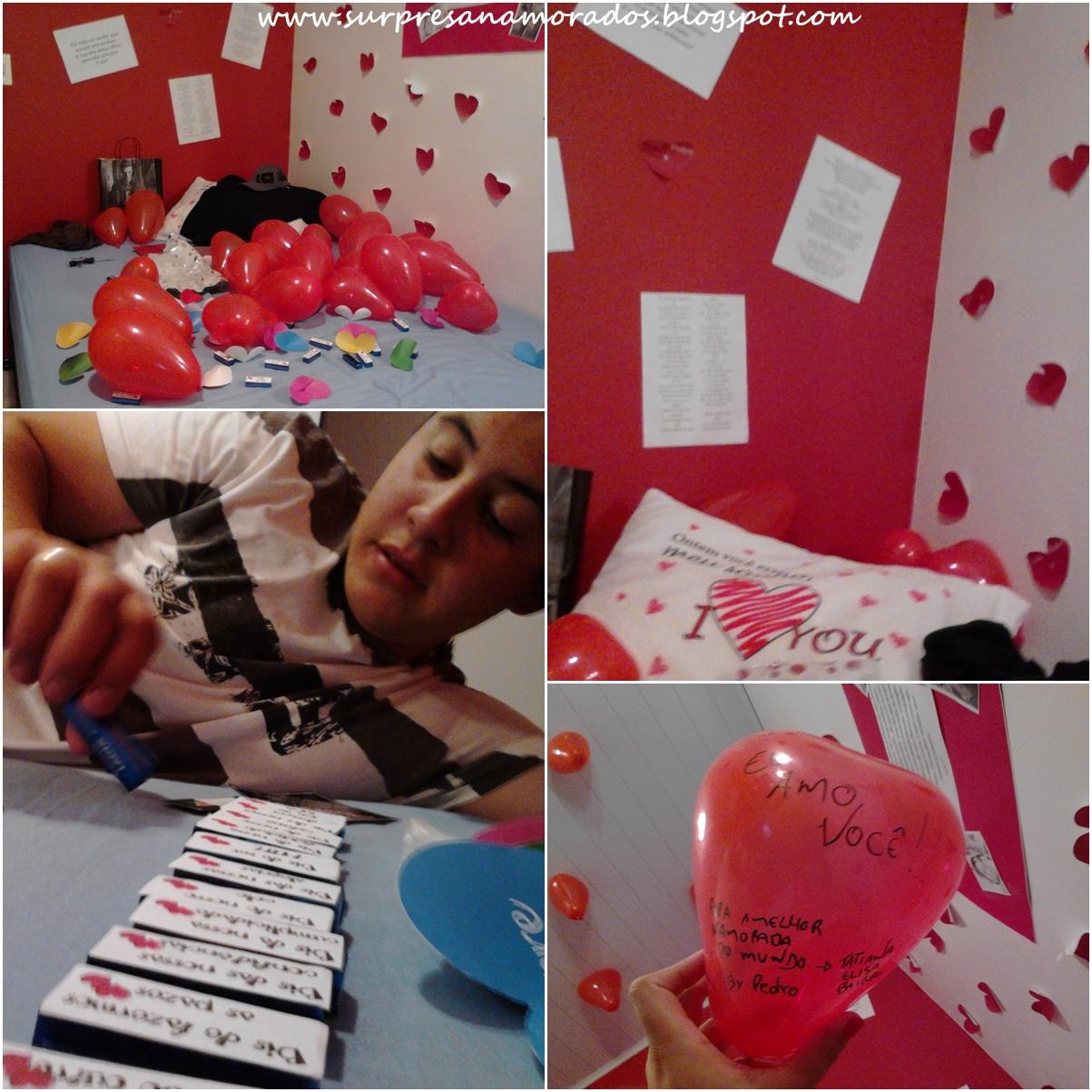 305 corações (305 dias juntos) feito pelo namorado da Bianca