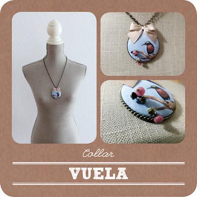 Varias imágenes del collar pintado a mano titulado: Vuela