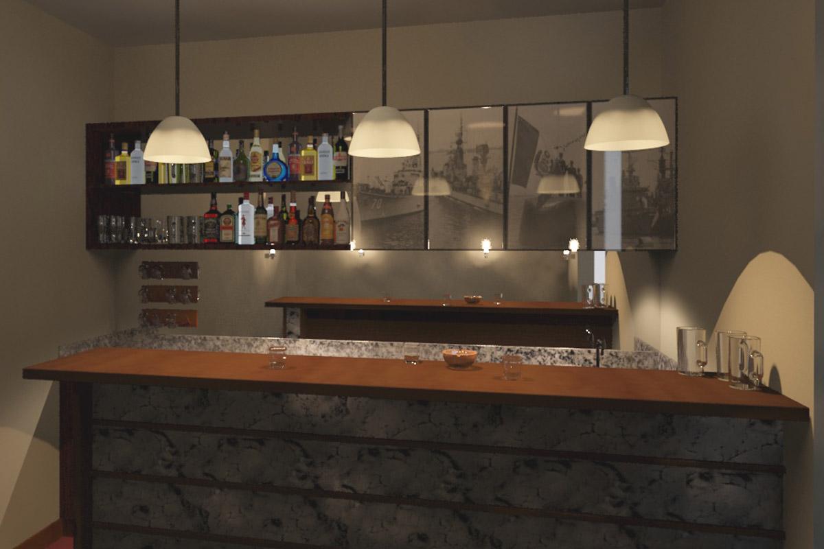 Oniria remodelacion de bar marino - Barras de bar iluminadas ...