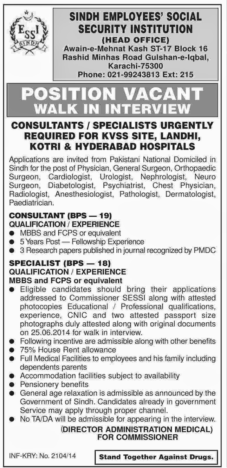 sindh employees social security instituition Sindh employees social security institution (sessi) has announced jobs in 2018 for neuro physician, chest physician, cardiologist, dermatologist, anestheti.