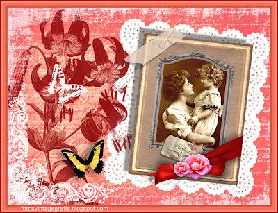 fondo vintage con foto antigua de madre e hija, flores y mariposa