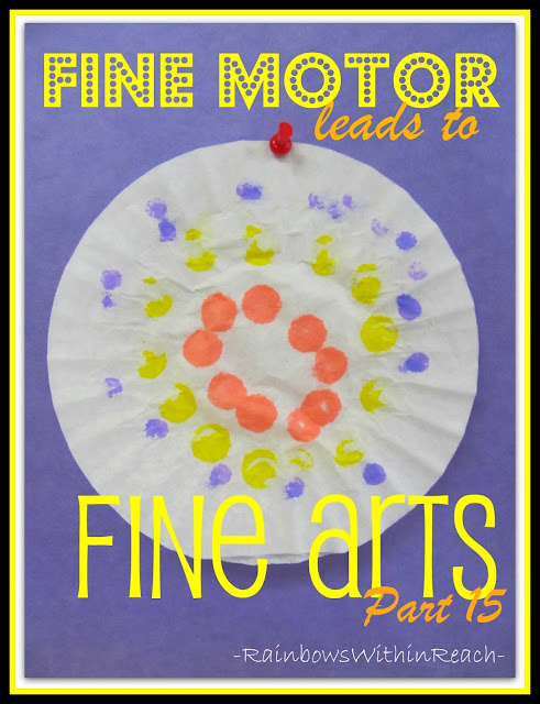 Photo of: coffee filter painting with paint daubers, Fine Motor Leads to Fine Arts