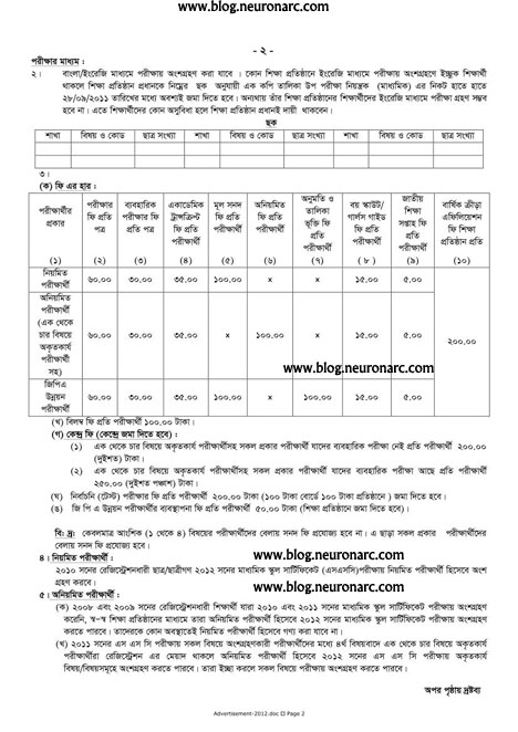 U8N74 SSC examination 2012 Bangladesh Notice
