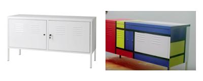 Transformación de un mueble sencillo en un diseño Mondrian