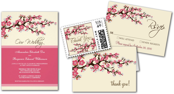 Cherry Blossoms Wedding Invitation Cards