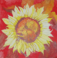 Single flower centered on canvas. Yellow flower with red, orange and yellow on the background leaves.