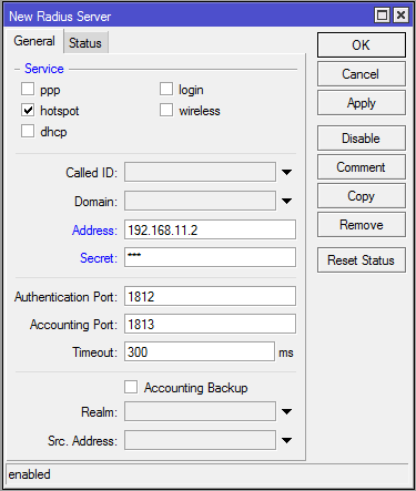 mikrotik - new radius server settings