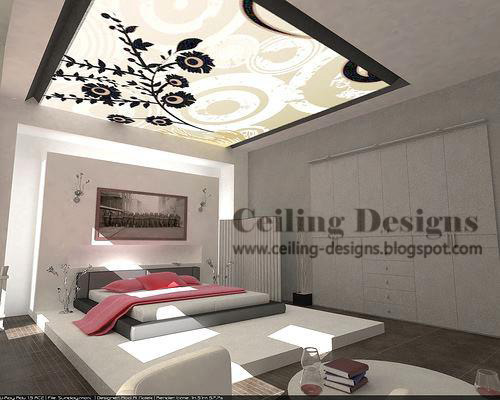 Decorative Lighting Bedroom Ceiling Designs From Gypsum And Glass
