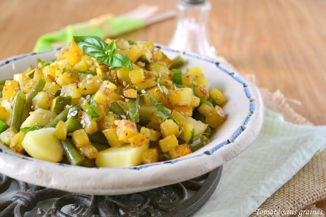 tomate sans graines cuisine bio et green attitude salade estivale haricots verts pommes de. Black Bedroom Furniture Sets. Home Design Ideas