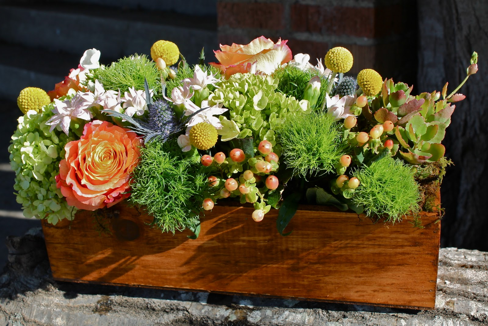 Nicole hamm designs wooden box arrangement - Wooden containers for flowers ...