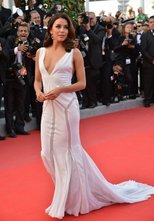 EVA LONGORIA wearing a classy white dress at Cannes Film Festival 2012