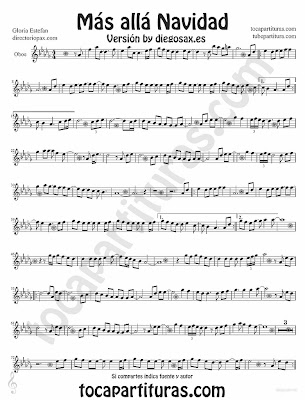 Tubepartitua Más Allá de Gloria Estefan partitura para Oboe Villancico pop - rock