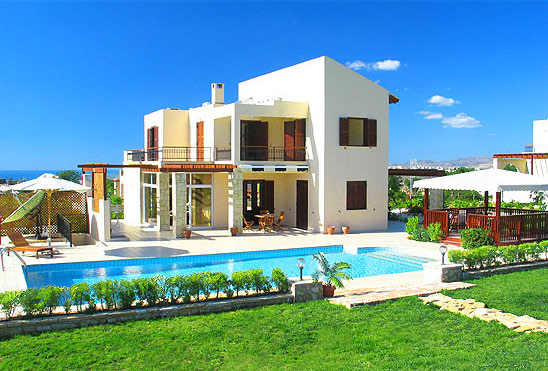 New home designs latest cyprus swimming pool villas designs for Pool villa design