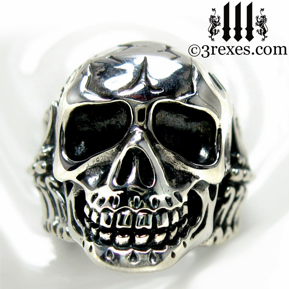 3 REXES JEWELRY BONES Silver Skull Biker Ring