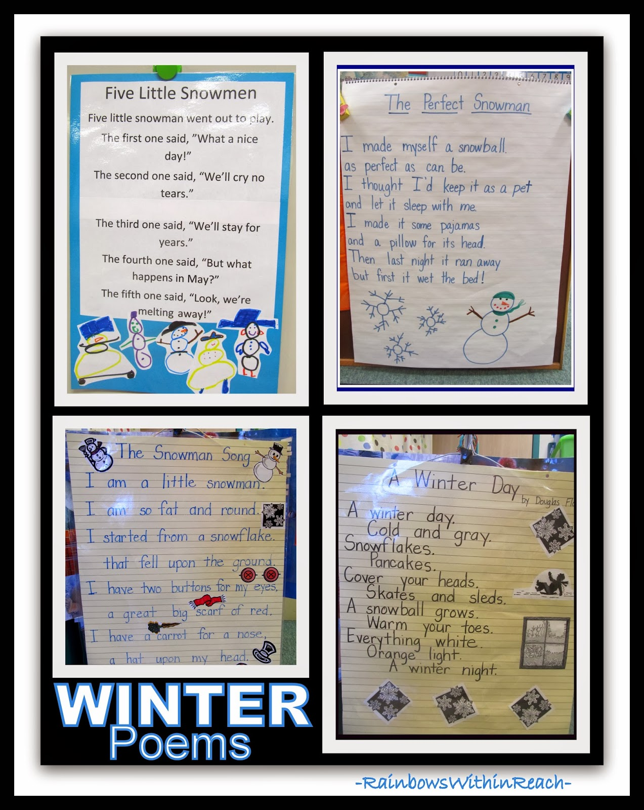 Four Winter Poems as Anchor Charts via RainbowsWithinReach