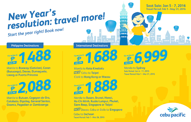 Cebu Pacific New Year Seat Sale Promo 2016