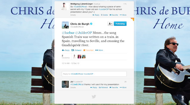 Chris de Burgh sent a tweet to my son for his school presentation about him