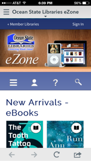 screenshot of Overdrive app home page