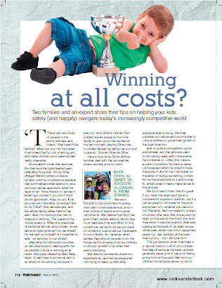 Recent Writing: Winning at all Costs, published in YOUR FAMILY[March 2013]