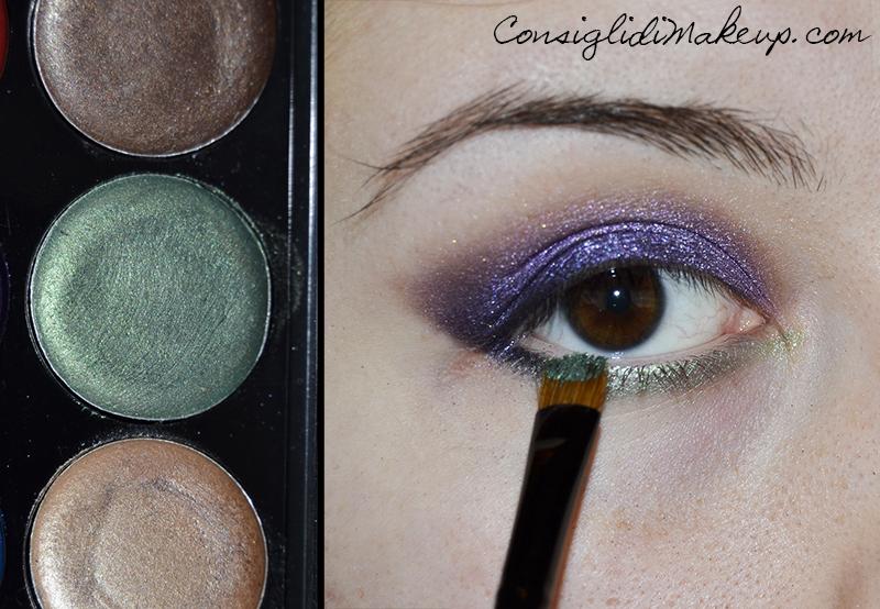 katy perry trucco occhi viola e verde