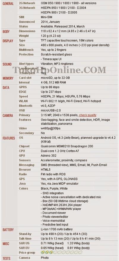 Spesifikasi Sony Xperia E1