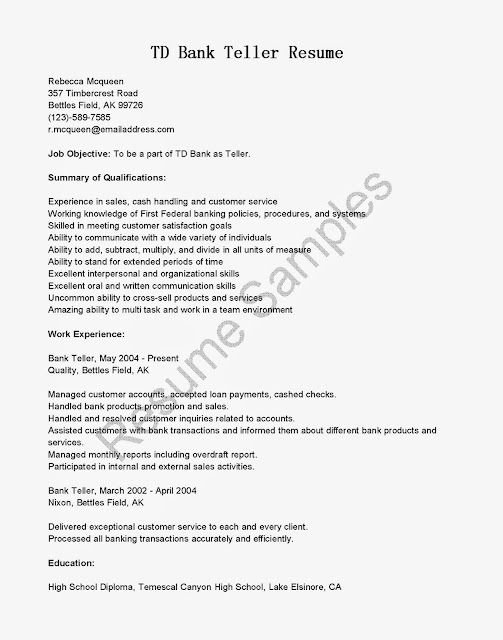 resume template for bank teller