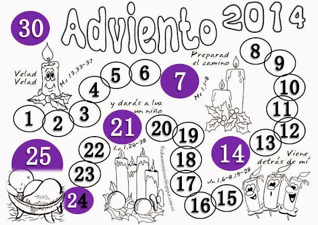 PARA COLOREAR: Calendario de Adviento 2014