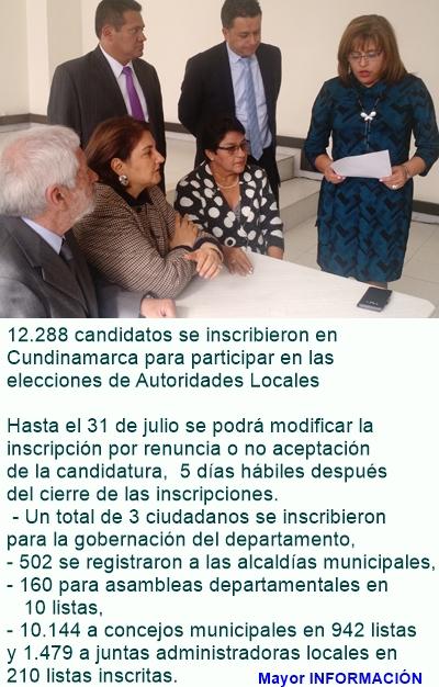 CUNDINAMARCA: 3 candidatos se inscribieron para participar por la Gobernación de Cundinamarca