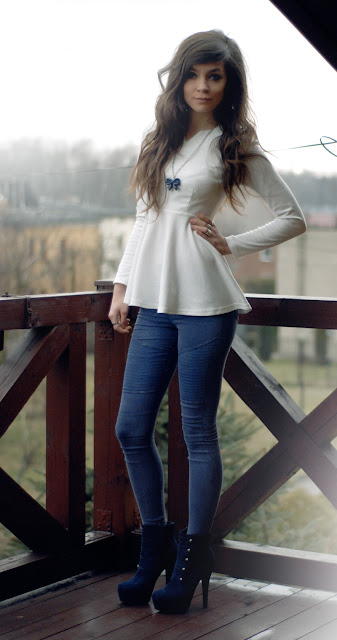 girl, brunette, zara, peplum, white, shirt, h&m