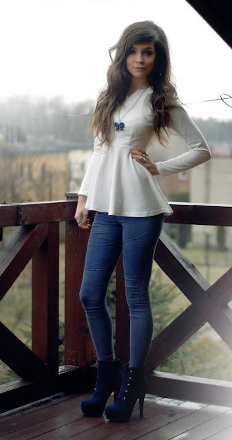 girl, brunette, zara, peplum, white, shirt, h&m