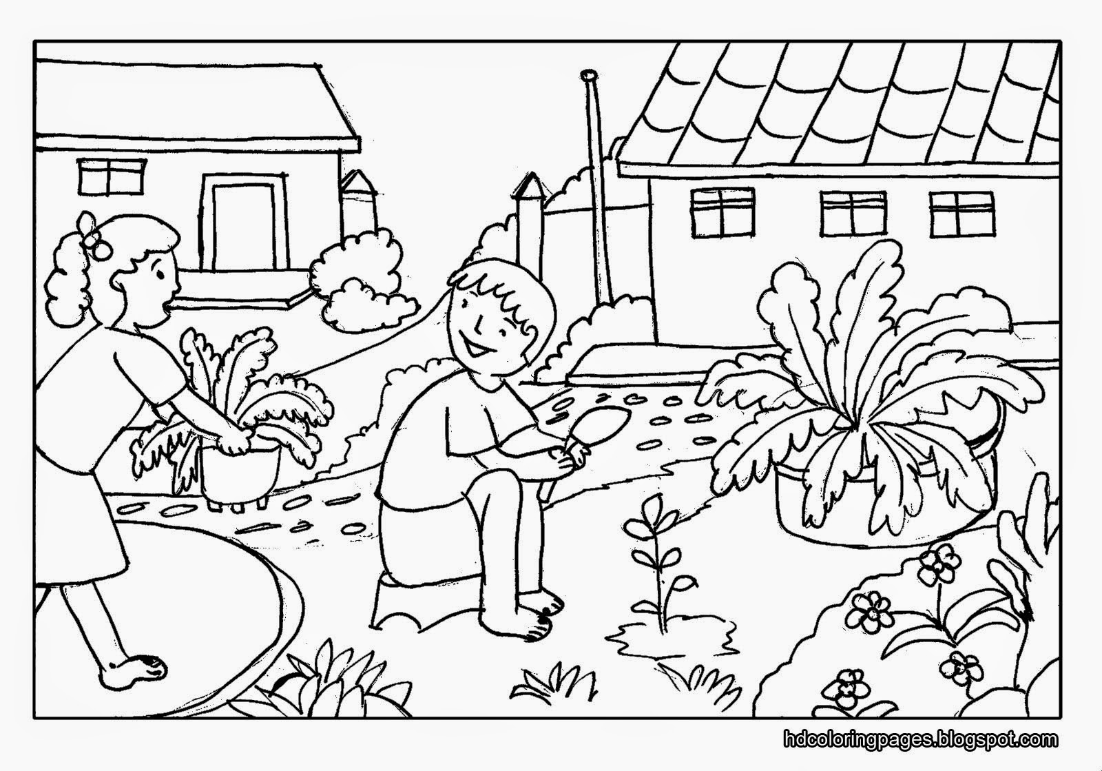 Gardening coloring pages for kids for Garden coloring page