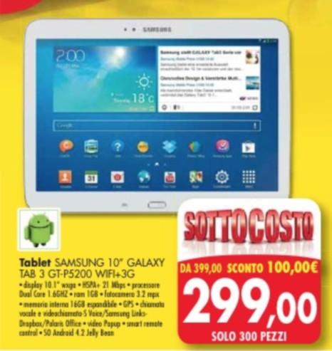 Galaxy Tab 3 10.1 P5200 prezzo sottocosto da Emisfero