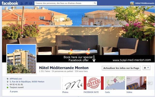 PAge Facebook Hotel Menton