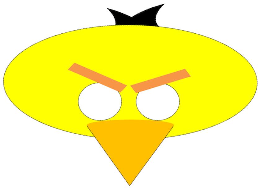 Máscara de Angry Bird amarillo.